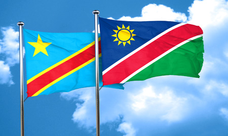 amity: Democratic republic of the congo flag with Namibia flag, 3D rendering Stock Photo