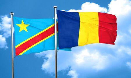 romania flag: Democratic republic of the congo flag with Romania flag, 3D rendering
