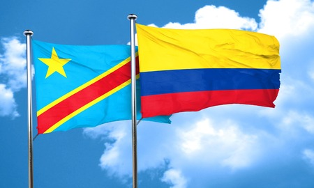 republic of colombia: Democratic republic of the congo flag with Colombia flag, 3D rendering