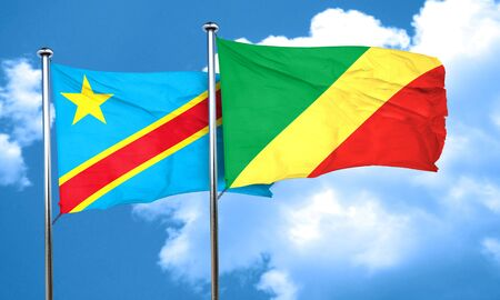 democratic: Democratic republic of the congo flag with congo flag, 3D rendering