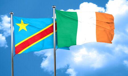 republic of ireland: Democratic republic of the congo flag with Ireland flag, 3D rendering