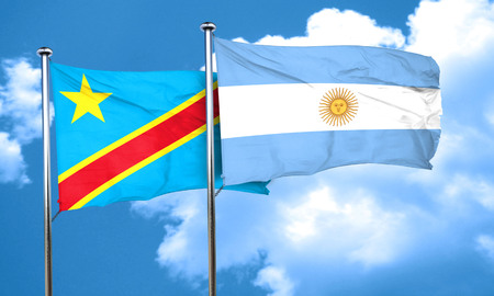 democratic: Democratic republic of the congo flag with Argentine flag, 3D rendering Stock Photo