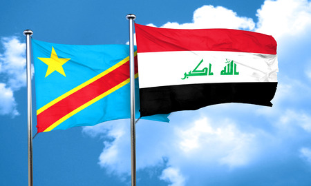 amity: Democratic republic of the congo flag with Iraq flag, 3D rendering