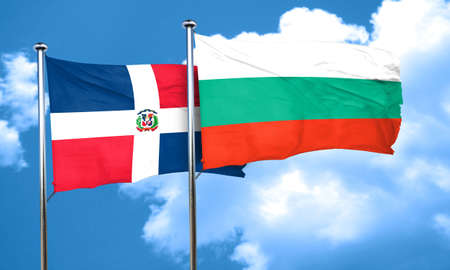 dominican: dominican republic flag with Bulgaria flag, 3D rendering
