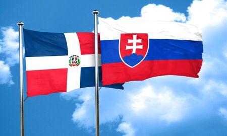 slovakia flag: dominican republic flag with Slovakia flag, 3D rendering