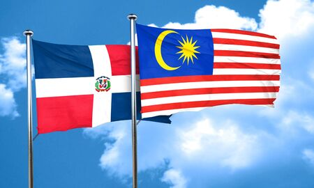 dominican: dominican republic flag with Malaysia flag, 3D rendering Stock Photo