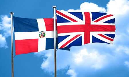 great britain flag: dominican republic flag with Great Britain flag, 3D rendering