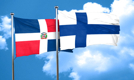 FINLAND flag: dominican republic flag with Finland flag, 3D rendering