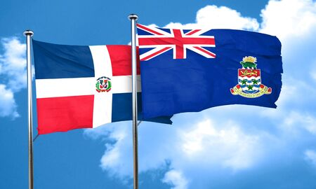 cayman: dominican republic flag with Cayman islands flag, 3D rendering