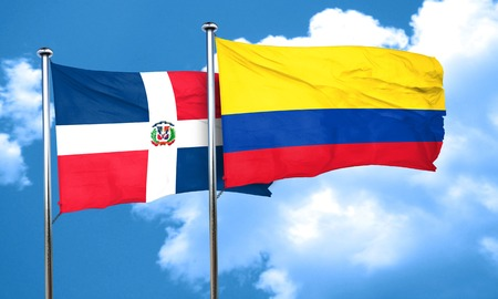 republic of colombia: dominican republic flag with Colombia flag, 3D rendering Stock Photo