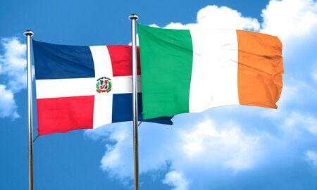 republic of ireland: dominican republic flag with Ireland flag, 3D rendering