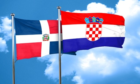 dominican: dominican republic flag with Croatia flag, 3D rendering Stock Photo