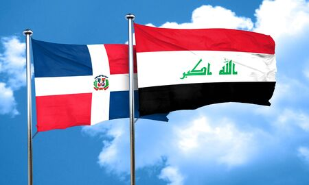 iraq flag: dominican republic flag with Iraq flag, 3D rendering Stock Photo
