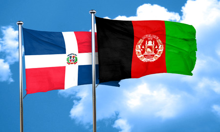 dominican republic flag with afghanistan flag, 3D rendering