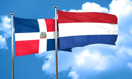 netherlands flag: dominican republic flag with Netherlands flag, 3D rendering Stock Photo