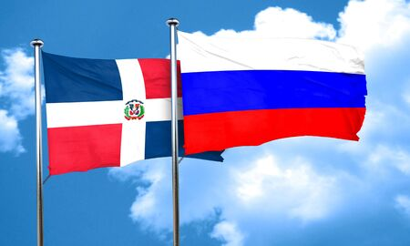russia flag: dominican republic flag with Russia flag, 3D rendering
