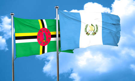 guatemalan: Dominica flag with Guatemala flag, 3D rendering