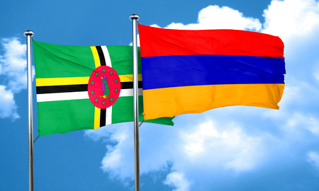 dominica: Dominica flag with Armenia flag, 3D rendering
