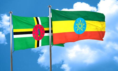 ethiopia flag: Dominica flag with Ethiopia flag, 3D rendering