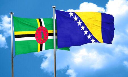 herzegovina: Dominica flag with Bosnia and Herzegovina flag, 3D rendering