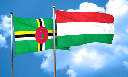 dominica: Dominica flag with Hungary flag, 3D rendering