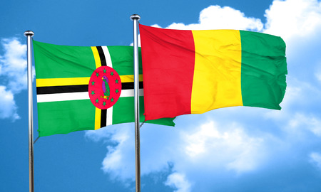 dominica: Dominica flag with Guinea flag, 3D rendering