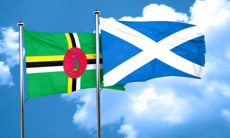 dominica: Dominica flag with Scotland flag, 3D rendering
