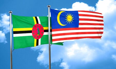 dominica: Dominica flag with Malaysia flag, 3D rendering Stock Photo