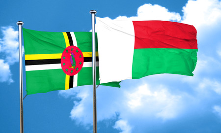 dominica: Dominica flag with Madagascar flag, 3D rendering