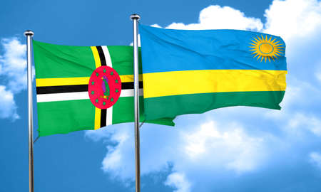 dominica: Dominica flag with rwanda flag, 3D rendering