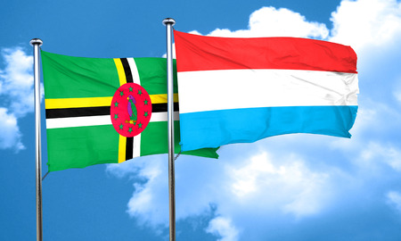 dominica: Dominica flag with Luxembourg flag, 3D rendering Stock Photo