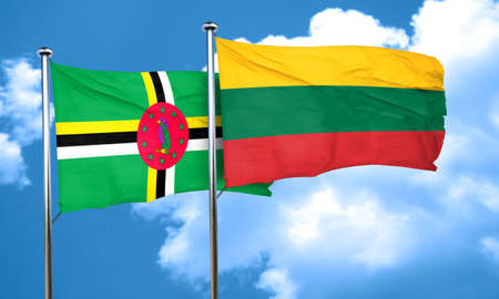 dominica: Dominica flag with Lithuania flag, 3D rendering