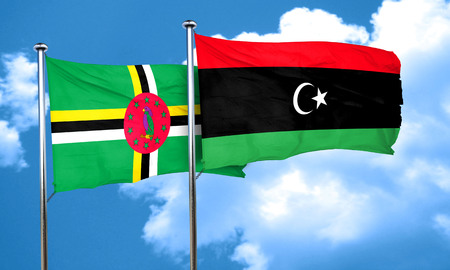 dominica: Dominica flag with Libya flag, 3D rendering Stock Photo
