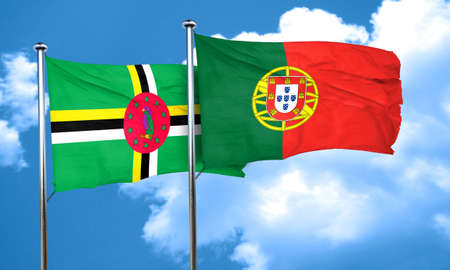portugese: Dominica flag with Portugal flag, 3D rendering