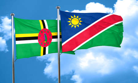 dominica: Dominica flag with Namibia flag, 3D rendering