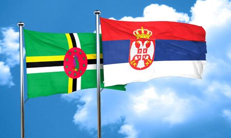 serbia flag: Dominica flag with Serbia flag, 3D rendering