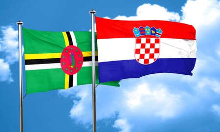 bandera croacia: Dominica flag with Croatia flag, 3D rendering