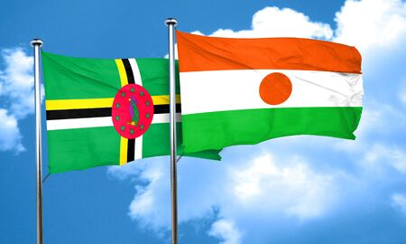 dominica: Dominica flag with Niger flag, 3D rendering