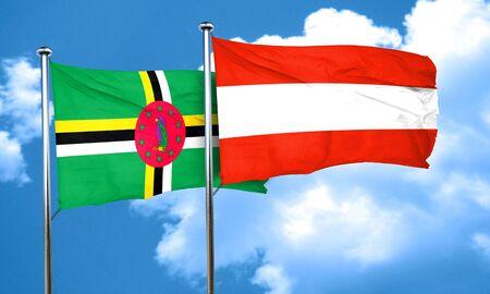 austria flag: Dominica flag with Austria flag, 3D rendering