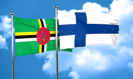 finland flag: Dominica flag with Finland flag, 3D rendering