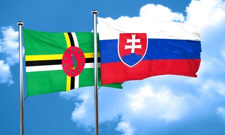 dominica: Dominica flag with Slovakia flag, 3D rendering