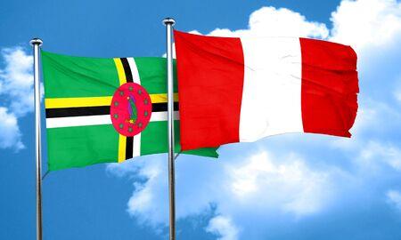 bandera de peru: Dominica flag with Peru flag, 3D rendering