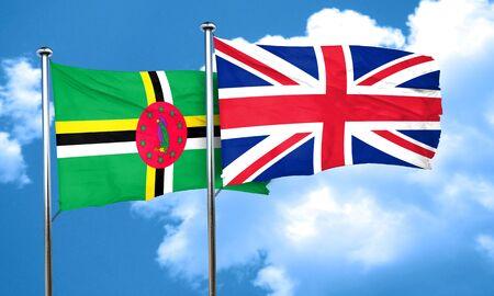 bandera de gran bretaña: Dominica flag with Great Britain flag, 3D rendering