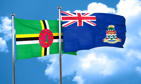 cayman: Dominica flag with Cayman islands flag, 3D rendering