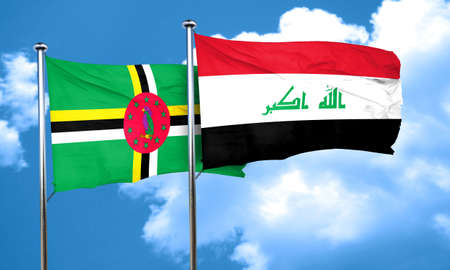 dominica: Dominica flag with Iraq flag, 3D rendering