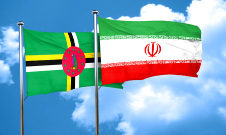 iran: Dominica flag with Iran flag, 3D rendering