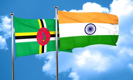 india 3d: Dominica flag with India flag, 3D rendering
