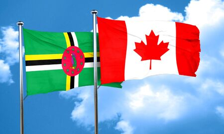 dominica: Dominica flag with Canada flag, 3D rendering Stock Photo