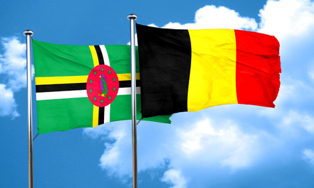 dominica: Dominica flag with Belgium flag, 3D rendering