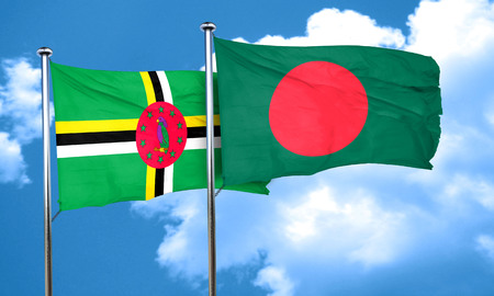 bangladesh 3d: Dominica flag with Bangladesh flag, 3D rendering